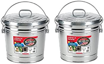 BEHRENS 10 Gallon Steel Locking Lid Trash Can (2 Pack) Made in USA