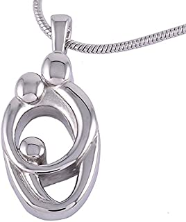 Urns UK Cremation Jewellery Ash Pendant Chelsea Design 71 w/Steel Chain, Stainless, Silver, 1.6x2.8x0.3 cm