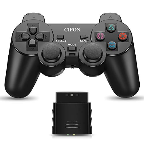 Wireless Controller for PS2, CIPON 2.4G Dual Vibration Control Remote for Sony Playstation 2