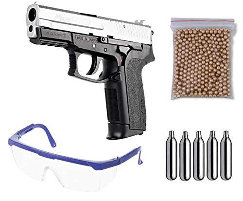 Pack pistola Perdigón Sig Sauer SP2022, corredera metalica. Calibre 4,5mm BBS. Potencia 1,75 Julios + Gafas + Balines + Bombonas co2