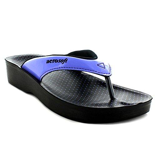 Aerosoft Original Damen Zehentrenner Stil Sandalen mit bedrucktem Fußbett | Bequeme Fußgewölbeunterstützende Laufsandalen (US, Schwarz (Snowdonia Violett), 38 EU