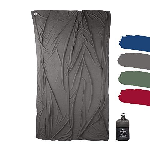 Bahidora Reisedecke. 200x150cm. Ultraleichte dünne Decke aus Coolmax Material - ideal für Reisen. Geringes Packmaß, weich und atmungsaktiv (Grau)
