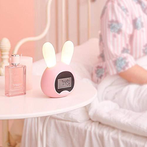 Omabeta Reloj Despertador Reloj de luz Reloj electrónico para Dormitorio de Escritorio(Cute Rabbit-Pink)
