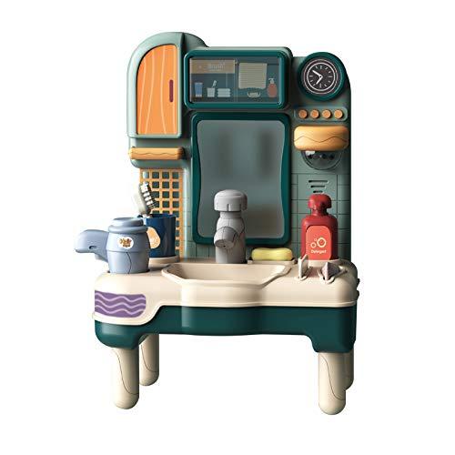 JKKJ Juego de lavabo de juguete | Fregadero de baño con agua corriente | Juego de juegos de baño para niños con grifo de trabajo y cepillo de dientes y secador de soplado para niños pequeños regalo