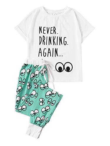 DIDK Damen Carton mit Augenmuster Kurzarm Shirt Lange Schlafanzughose Pajamahose...