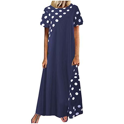 Janly Clearance Sale Vestido para mujer, talla grande, con estampado de lunares y lunares de Pachwort, manga corta, bolsillos, vestido casual, para Pascua, San Patricio, azul marino (3XL)