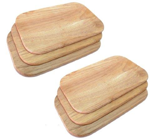 6x Frühstücksbrett 6 Frühstücksbrettchen Holz hell Gummibaum Essbrett Kesper # 64003