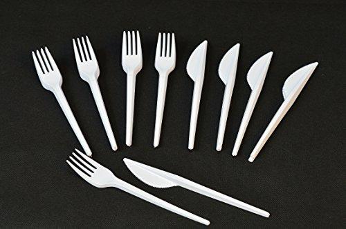 Set aus je 1000 Plastik Messer + Gabeln Einweg Besteck Weiß Party Feier Fete Weiss Plastikmesser und Plastikgabel Plastikgabeln