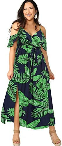 Tropical maxi dress with sleeves