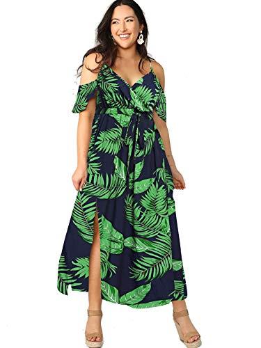 Milumia Women Plus Size Cold Shoulder Floral Maxi Bohemian Split Dress A Green Large Plus