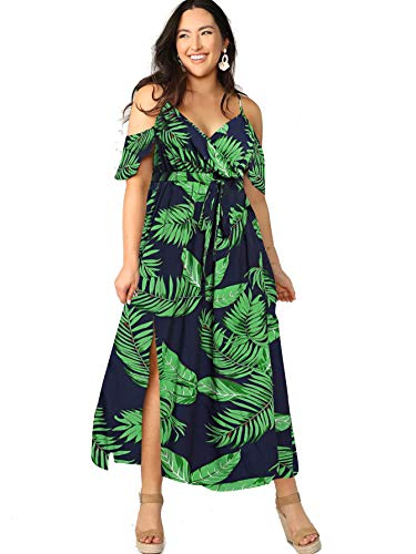 Milumia Women Plus Size Cold Shoulder Floral Maxi Bohemian Split Dress A Green 3X-Large Plus