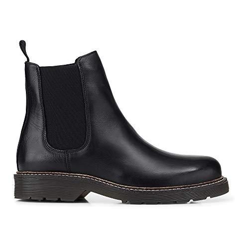 Another A Damen Chelsea-Boots aus Leder, Stiefeletten in Schwarz mit robuster Laufsohle Schwarz Leder 38