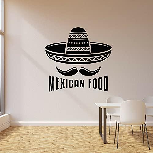 WERWN Calcomanía de Pared de Comida Mexicana, Comida Deliciosa Gourmet, Sombrero de Paja, Bigote, Pegatina de Vinilo Creativa para Ventana, decoración de Restaurante