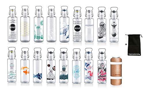 Soulbottle Trinkflasche Glasflasche Wasserflasche 600ml, 1000ml - 100% Plastikfrei (600ml, Kois)