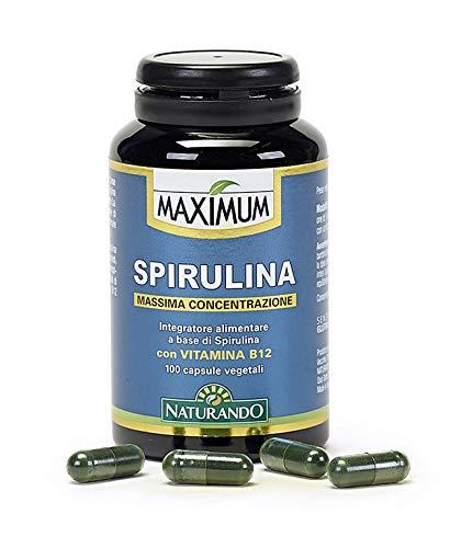 Naturando Srl Espirulina 100 Cápsulas Vegetales - Complemento Alimenticio Natural Con Muy Alta Concentración De Ingredientes Activos A Base De Algas Espirulinas Y Vitamina B12 80 g