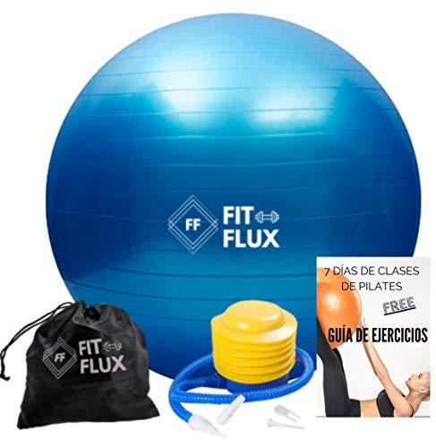 FITFLUX Pelota de Pilates, Yoga, Fitness, Ejercicio, Embarazo, Equilibrio. Fitball para Gimnasia. Resistente. Bomba incluida. 65cm. 7 Días Gratis de Clases de Pilates