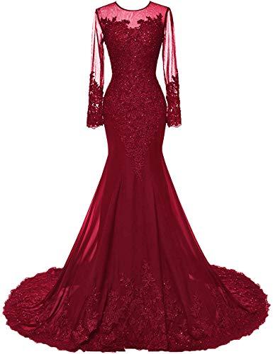 HUINI Abendkleider Lang Meerjungfrau Brautkleider Hochzeitskleid Chiffon Ballkleider Langarm Festkleid Mit Schleppe Burgund 56