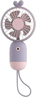 LZCR Cute Deer Fan Portátil de Mano con batería Recargable incorporada 500mA Puerto USB Práctico Mini Ventilador de refrigeración por Aire para el hogar al Aire Libre: púrpura y Rosa
