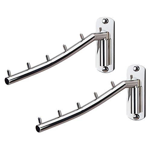 Z-FIRST Folding Wall Mounted Clothes Hanger Rack Wall Clothes Hanger Hook Stainless Steel 304 Swing Arm Holder Clothing Hanging System Closet Storage Organizer - 2 Pack