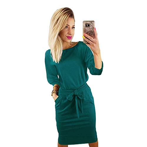 Longwu Donna Elegante Manica A Sbuffo Indossare al Lavoro Casuale Vestito con la Cintura Verde Malachite-S