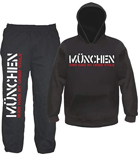 sostex München Euer HASS Ist Unser Stolz Jogginganzug - Jogginghose und Hoodie M Schwarz