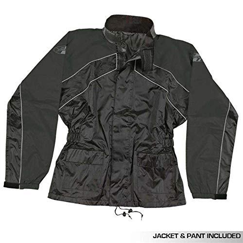 Black//Black, Medium Joe Rocket RS2 Womens 2-Piece Motorcycle Rain Suit
