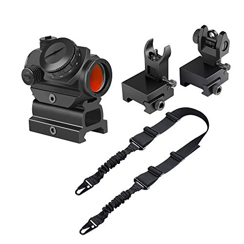 Feyachi RDS-22 2MOA Micro Red Dot Sight with Flip Up Rear Front and Iron Sights and L46 Two Points Rifle Sling