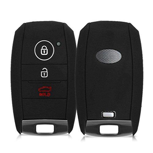 kwmobile Accessoire clé de Voiture Compatible avec Kia Smartkey 3-Bouton - Coque en Silicone Souple pour Clef de Voiture Noir
