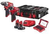 Milwaukee 4933471144 M12 FPP2A-402P Hammer Drill-Martillo de percusión 1 pulgada Hex Cordless Compact Impact Wrench, rojo y negro, Red & Black