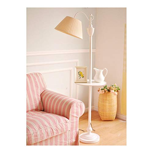 Staande lamp met salontafel Slaapkamer Nachtlampjes Eye Protection Reading Light Living Room Storage Table Vertical Light Thuis Simple Decoration Lamp LED (Color : Beige, Size : 40cm*164cm)