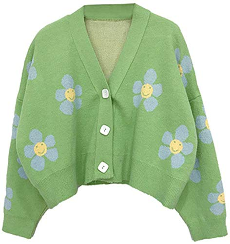 Women Knitted Sweaters Cardigans Floral V Neck Long Sleeve Girls Sweet...