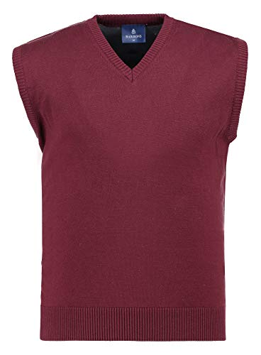 BARBONS Herren Pullunder - V-Ausschnitt - Modern-Fit - Hochwertige Baumwollmischung - Feinstrick-Weste - Bordeaux (Pullunder) M