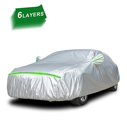 """VONLUXE Car Cover Waterproof Breathable Heavy Duty Rain Snow Dust Sun UV All Weather Waterproof Protection Full Covers with Door Zipper Cotton Lining Fit Sedan Up To 193''(193"""" * 75"""" * 60"""")"""
