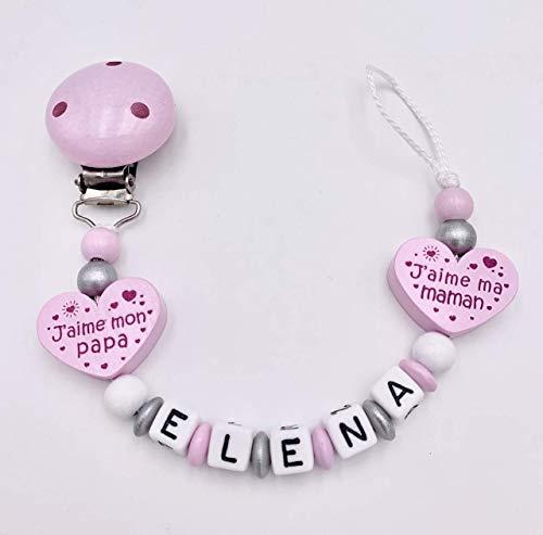 Attache tétine, attache sucette prénom fille personnalisé perles de bois bébé argenté coeur j'aime maman & j'aime papa
