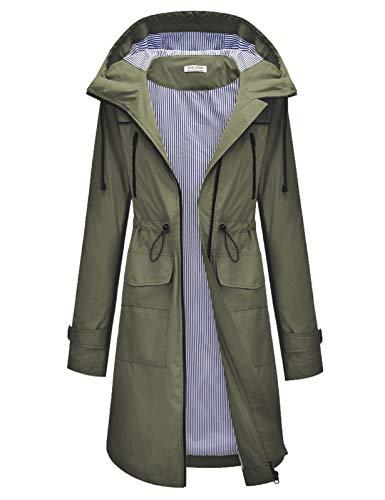 Women Light Rain Jacket Waterproof Active Outdoor Trench Raincoat with Hood Army Green 2XL