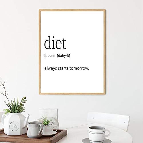 Foodie Presenter Svartvitt Affisch Diet Definition Print Köksdekor Viktvaktare Inspirerad konst Bild Kanvasmålning 50x70cm Ramlös