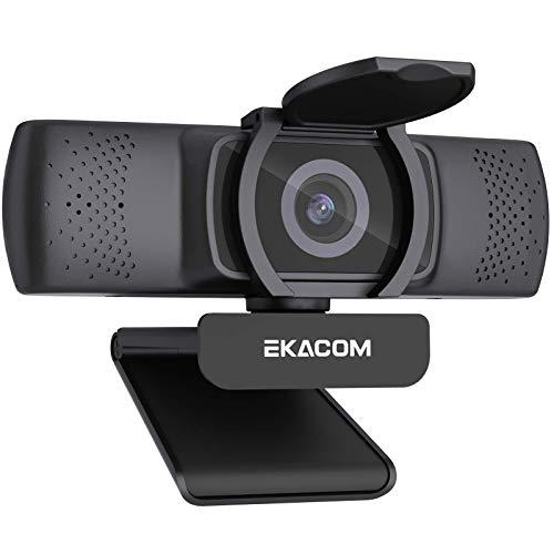 EKACOM Webcam mit Mikrofon, 1080P Full HD Streamcam mit 30fps Autofokus, USB Web Kamera mit Abdeckung für PC Videochat/Online Klasse/Aufnahme, kompatibel mit Windows/Mac/Microsoft, Skype/YouTube/Zoom