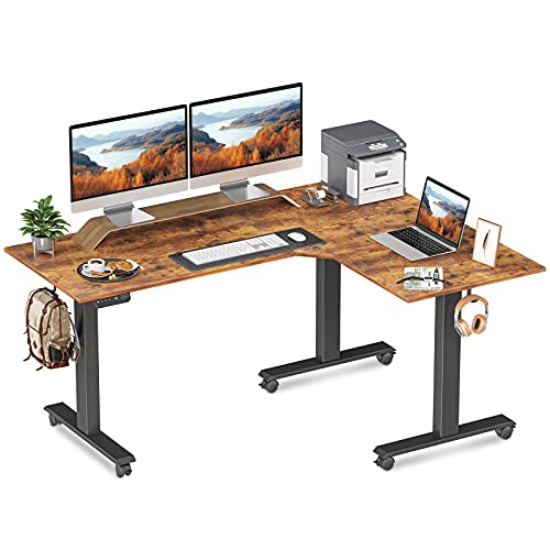 FEZIBO Triple Motor L-Shaped Electric Standing Desk, 63 inches Height Adjustable Stand up Corner Desk, Sit Stand Workstation with Splice Board, Black...