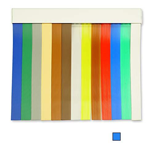 Cortinas Exterior Puerta de Tiras | Material Plastico PVC y Barra Aluminio | Ideal para Terraza y Porche | Antimoscas | Azul-Transparente | 210 * 90