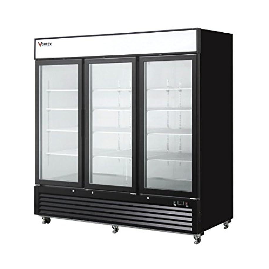 Commercial Grade Merchandiser Freezer by Vortex Refrigeration | 3 Self-Closing Doors | Fog Resistant Glass | 72 Cu. Ft. | 12 Adjustable Shelves | for Restaurants | 82