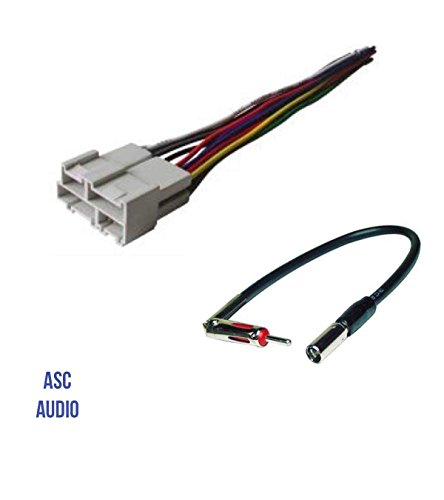 ASC Audio Car Stereo Wire Harness and Antenna Adapter to Aftermarket Radio for Some GM Buick Cadillac GMC Oldsmobile Pontiac Saturn- No Factory Bose/Amp- Compatible Vehicles Listed Below
