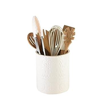 Pfaltzgraff Chateau 9-Piece Kitchen Tool and Ceramic Crock Set, Ivory