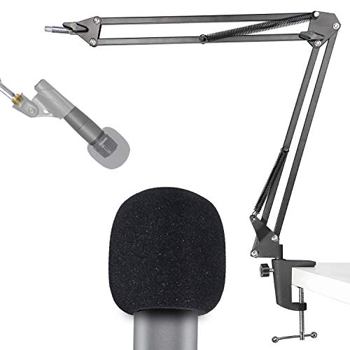 SM58 Mic Stand with Windscreen - Microphone Boom Arm Stand with Foam Cover Pop Filter for Shure SM58S SM58-LC Dynamic Vocal Microphone by YOUSHARES