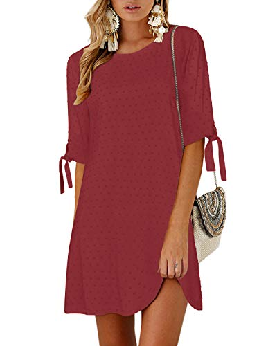 YOINS Langarm Blusenkleid Damen Kleider Tshirt Winterkleid für Damen Rundhals Minikleid Lose Tunika mit Bowknot Ärmeln H-Rotwein M