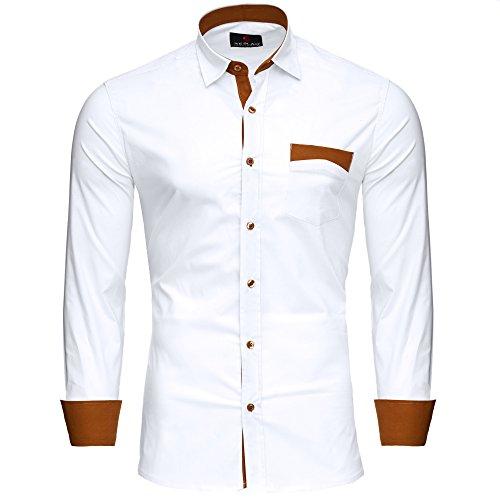 Reslad Herren Hemd bügelfreies Männer Partyhemd Hochzeitshemd Langarm Kontrast Sommerhemd mit Brusttasche RS-7205 Weiß M