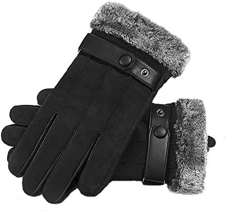 Lupovin-Keep Warm Touch Screen Gloves Autumn Winter Outside Threefold Layer Windproof Warm Riding Sports Anti-Slip Non-Slip (Color : Black)