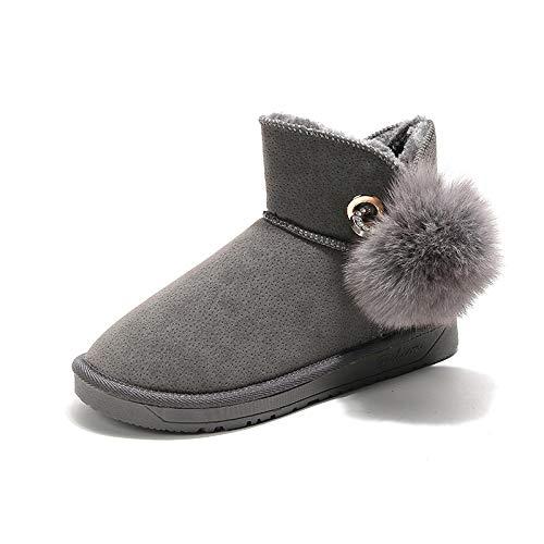 Winter Nieuwe Vrouwen Sneeuw Laarzen Plus Pluche Houd Warm Enkel Bont Emu Laarzen Pin Pluche Bal Comfortabele Niet-slip Winter Laarzen