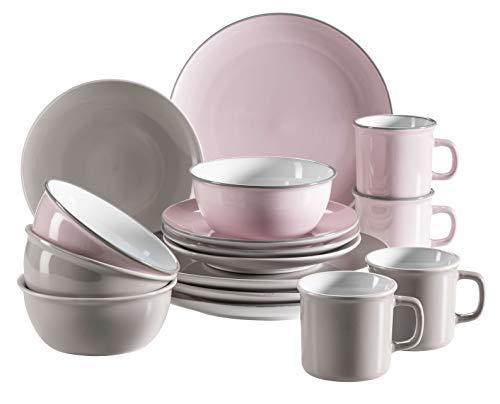 Mäser 931543 Maila Geschirr, moderner Vintage-Look, 16-teiliges Kombiservice im Retro-Design, Steinzeug, 4-Personen-Set rosa/grau