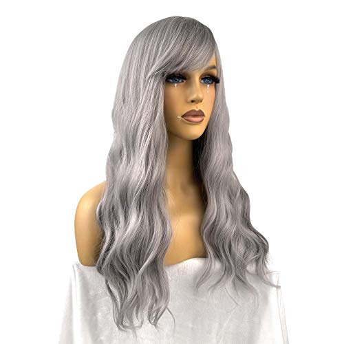 Fraysmi Long Wavy Wig Air Bangs Silky Full Heat Resistant Synthetic Wig for Women Hair Replacement Wig for Party Cosplay Body Wavy (Granny Grey)