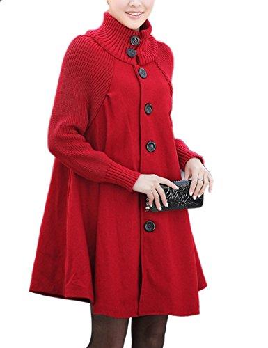 HAEMMA Dames Fashion winterjas lange gebreide jas fleece knoop Swing wijd poncho cape stijl opstaande kraag mantel winterjas losse fit jurk